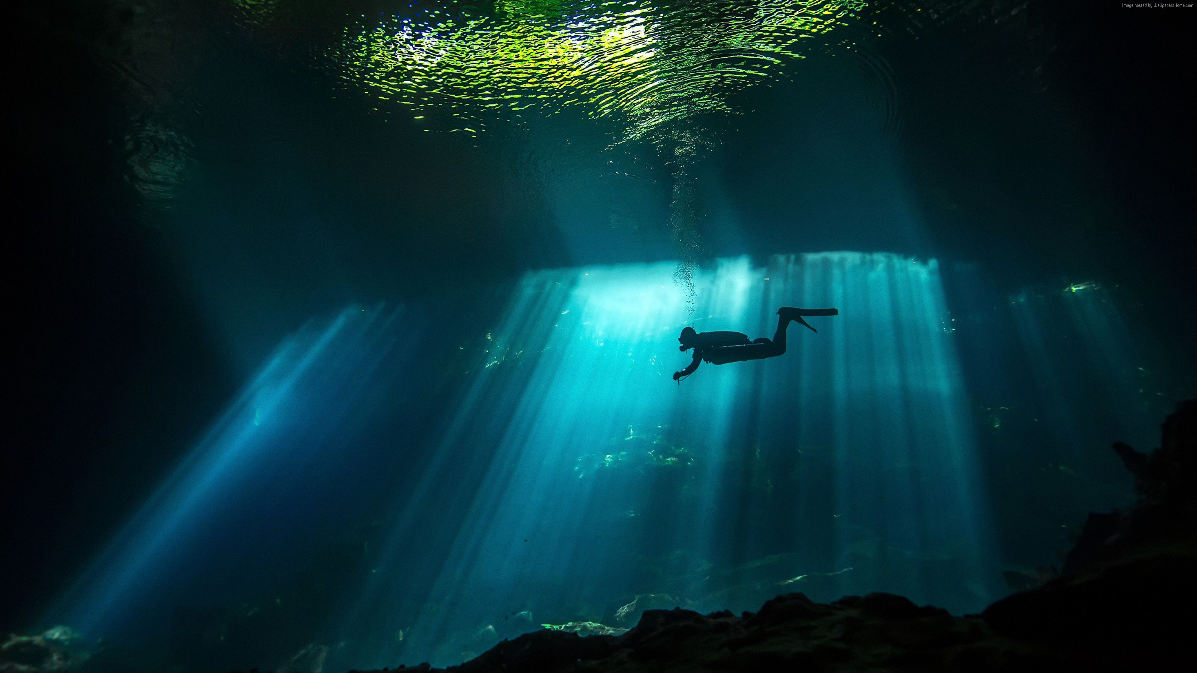 Wallpaper Diver Sunbeam Underwater 4k Travel With Images
