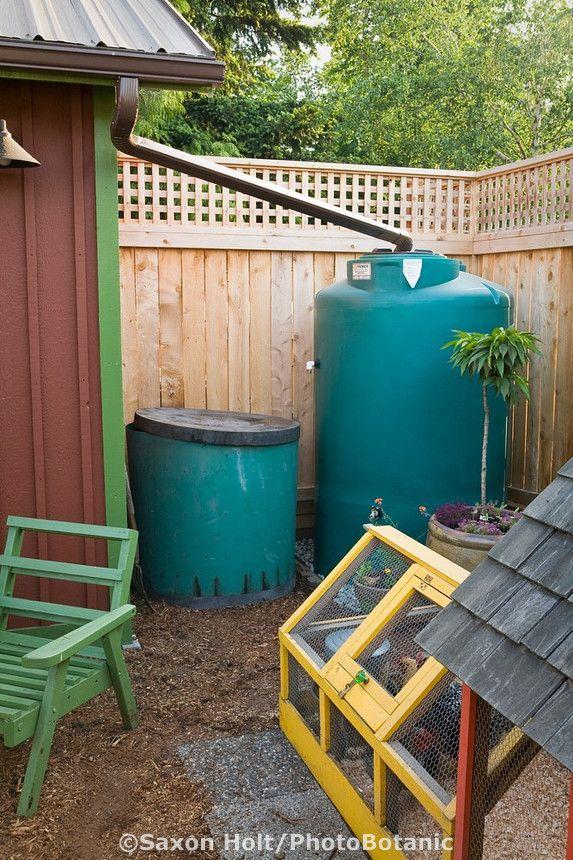 Small Space Sustainable Back Yard Garden With Chicken Coop Rain Barrel Cistern And Compost Bin Backyard Garden Farm Gardens Garden Projects