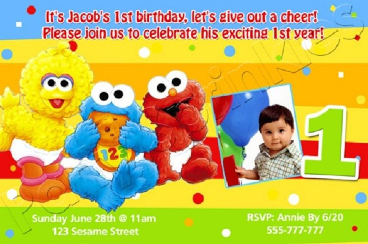 Sesame Street 1st Birthday Invitations Personalized