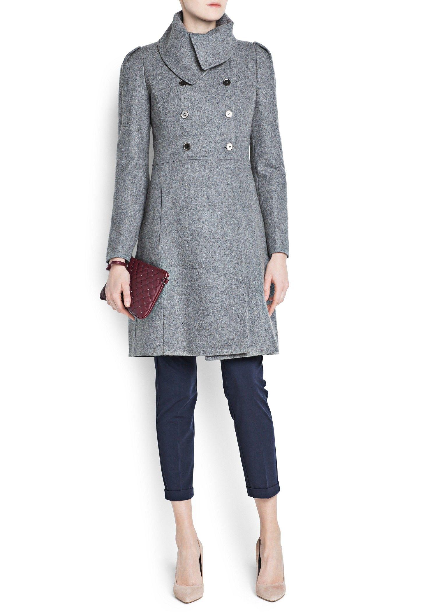 Manteau laine gris mango