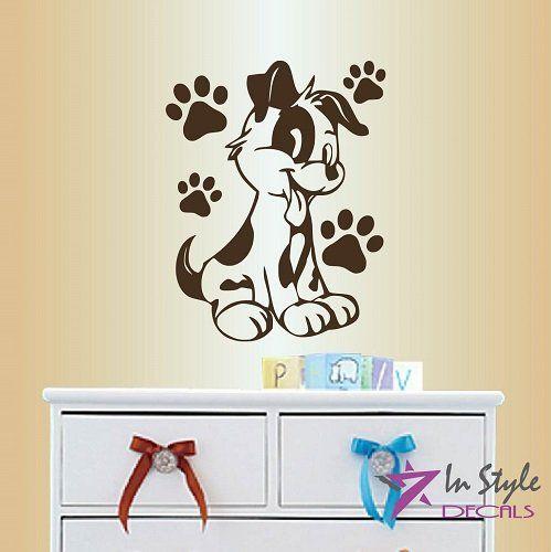 PUPPY DOG Removable Vinyl walls childrens kids stickers decals nursery bedroom
