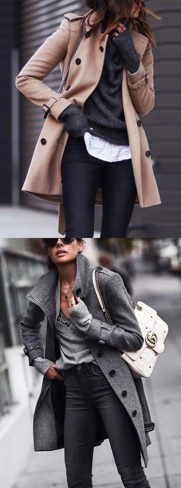 Cappotto a maniche lunghe in puro colore caldo di vendita #kakiCappotti #InvernoCappotti #Abbigliamento da donna