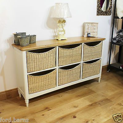 Melford Wide Chest Of Drawers With Wicker Baskets Storage ...