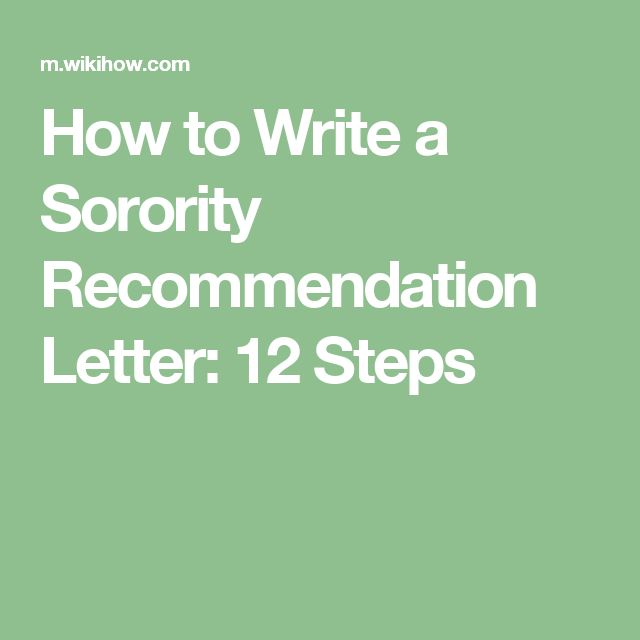 How To Write A Sorority Recommendation Letter  Steps  Rec