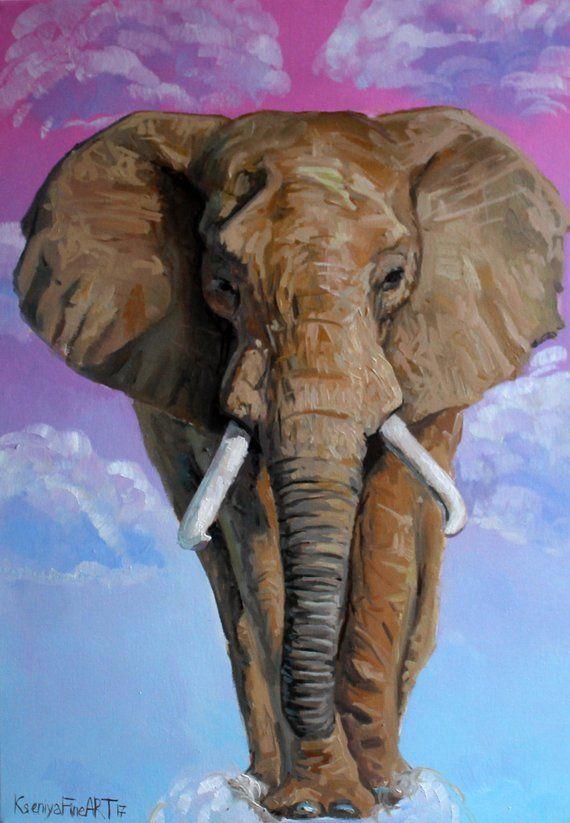 Elephant Wall Art Original Oil Painting Nursery Art Decor Gift Etsy In 2021 Elephant Art Elephant Painting Animal Paintings