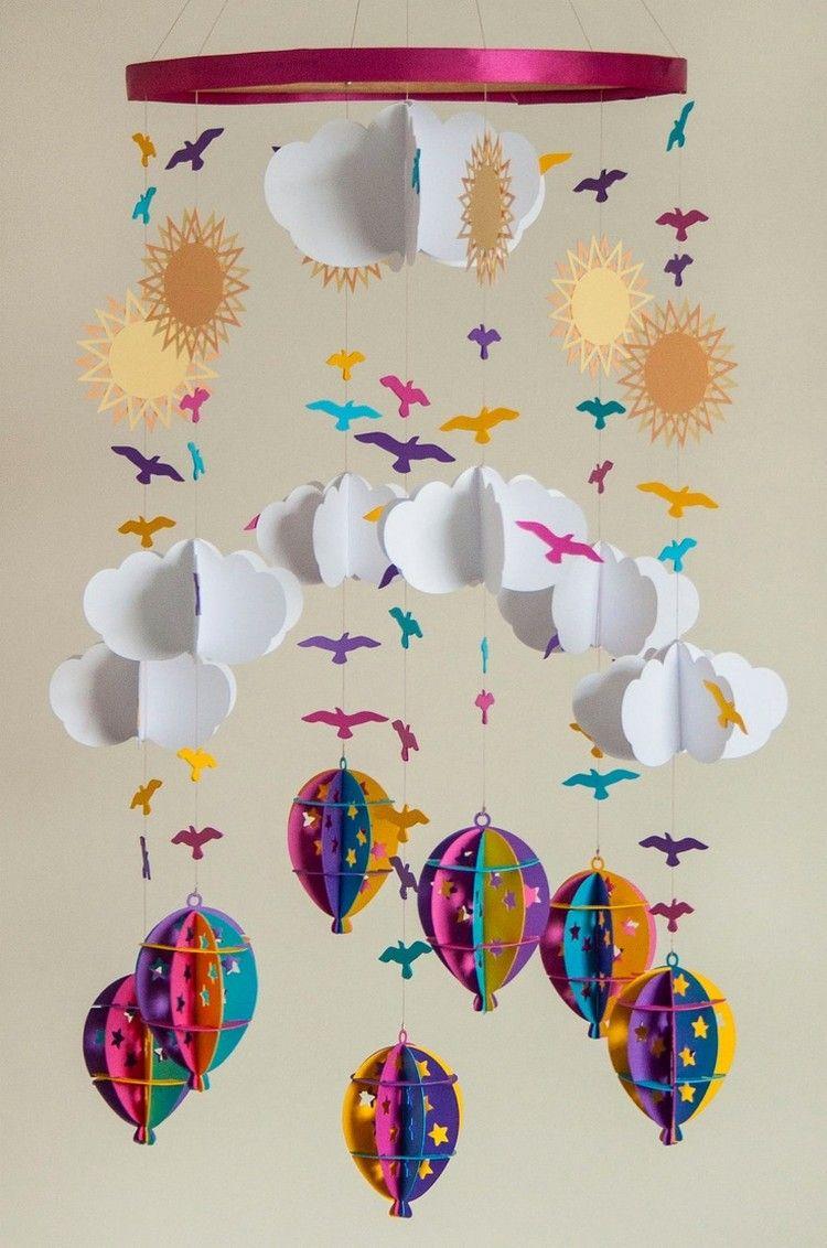 Mobile Selber Basteln baby mobile selber basteln papier wolken heissluftballons sonnen