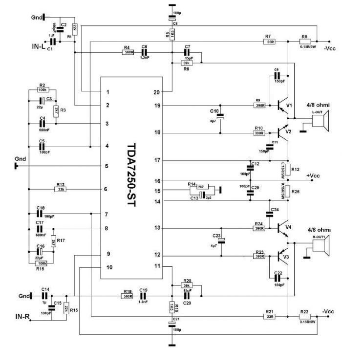 TA8215 4 Channel Power Amplifier CIrcuit | Circuits, Audio and ...