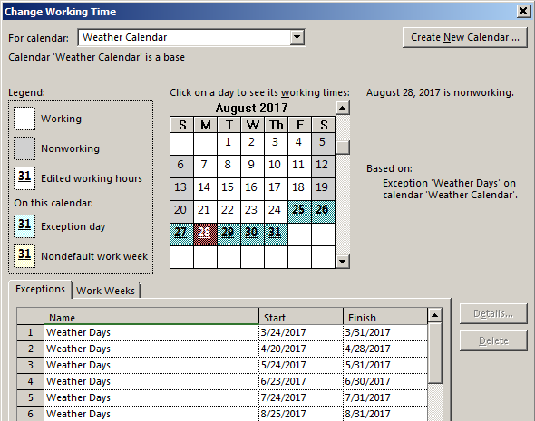 managing weather stoppages in schedules microsoft project