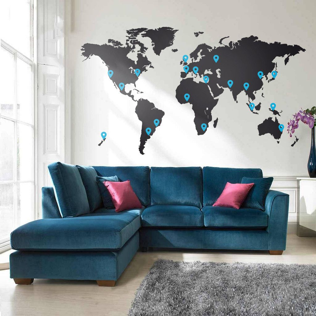 World map vinyl wall sticker vinyl wall stickers reception areas world map vinyl wall sticker gumiabroncs Image collections