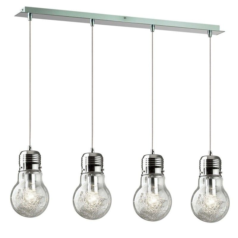 Lampe suspension design luce 4 ampoules luminaire for Suspension 4 ampoules