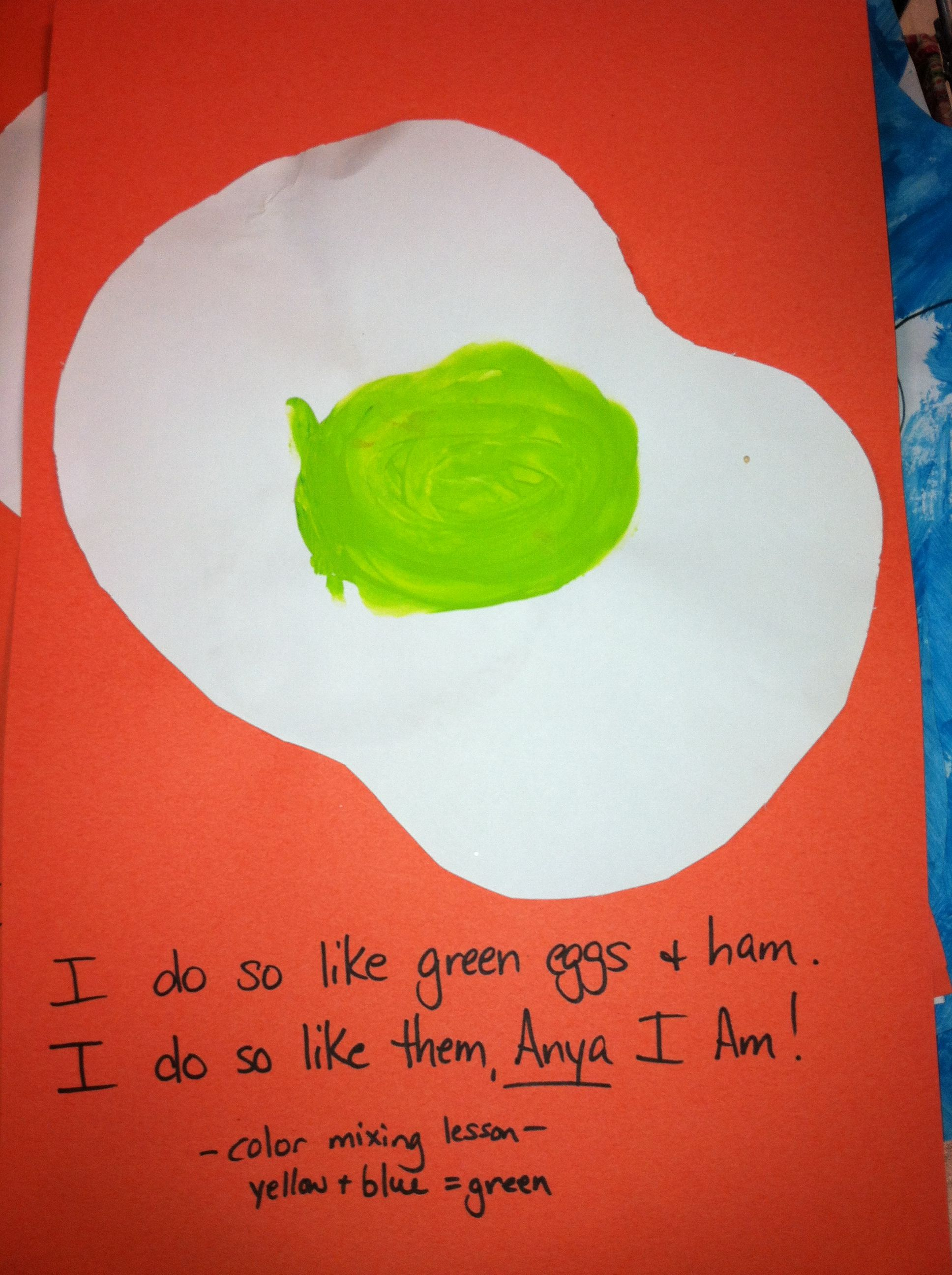 Color mixing lesson for preschoolers. Read Green eggs and ham, make ...