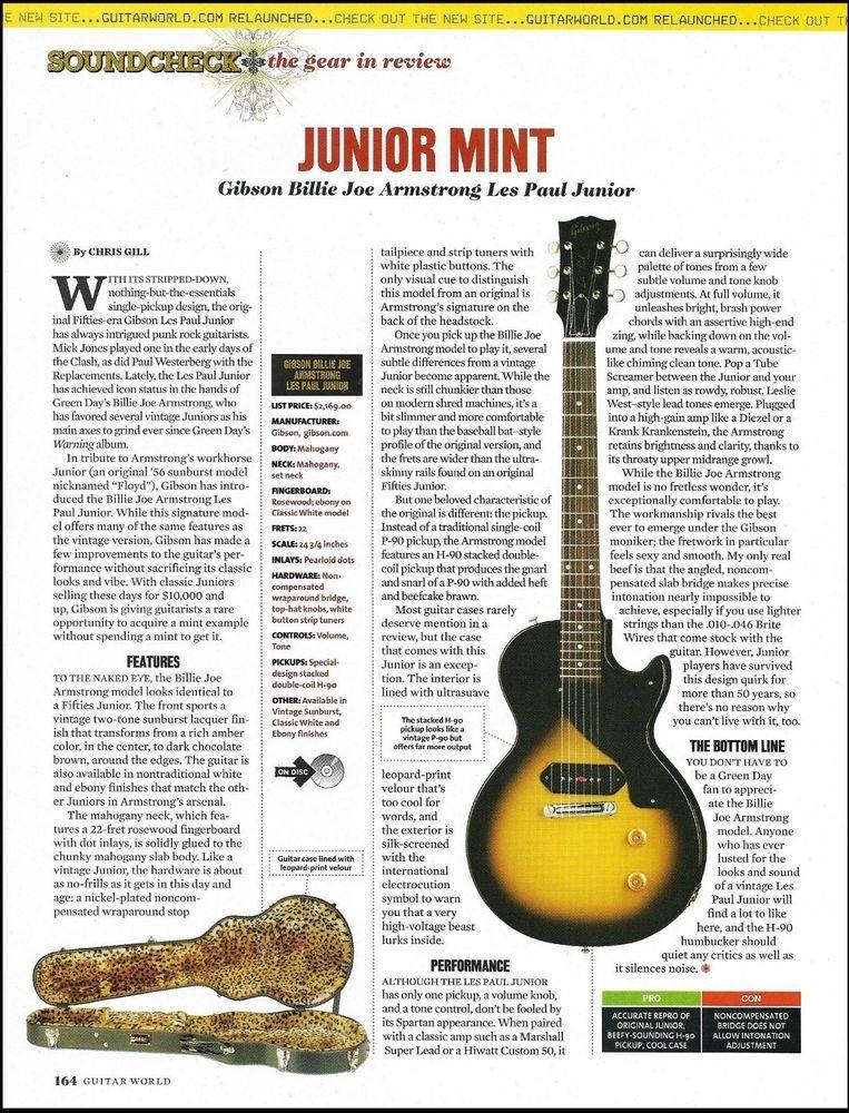 Gibson Billie Joe Armstrong Les Paul Junior Guitar Sound Check Gear
