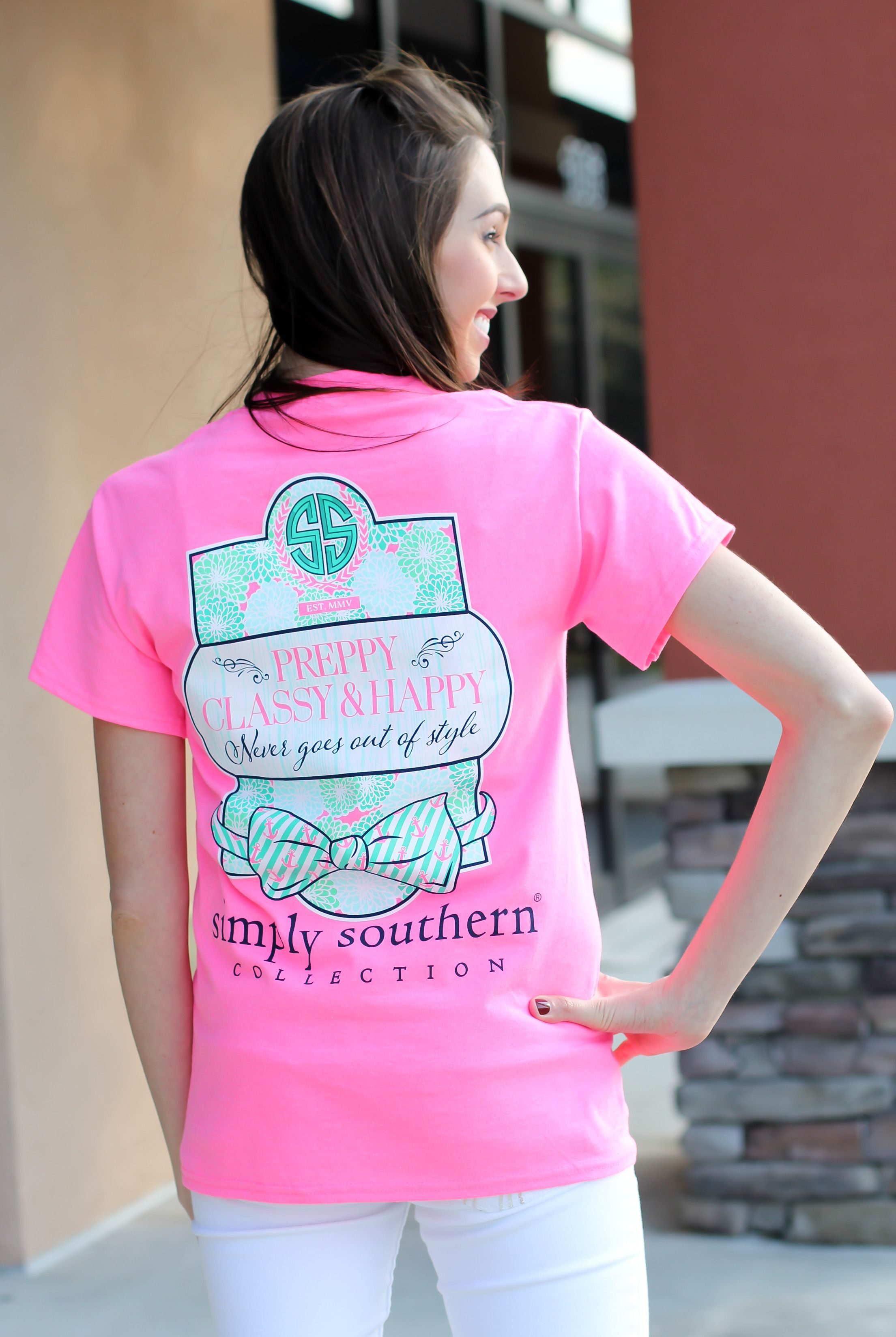 """Simply Southern is a preppy T-shirt collection. This bright pink tee features a screen print of Preppy, Classy + Happy. Model is 5'8"""" wearing a small. 100% Cotton PRESHRUNK Unisex tee. Body Width..."""