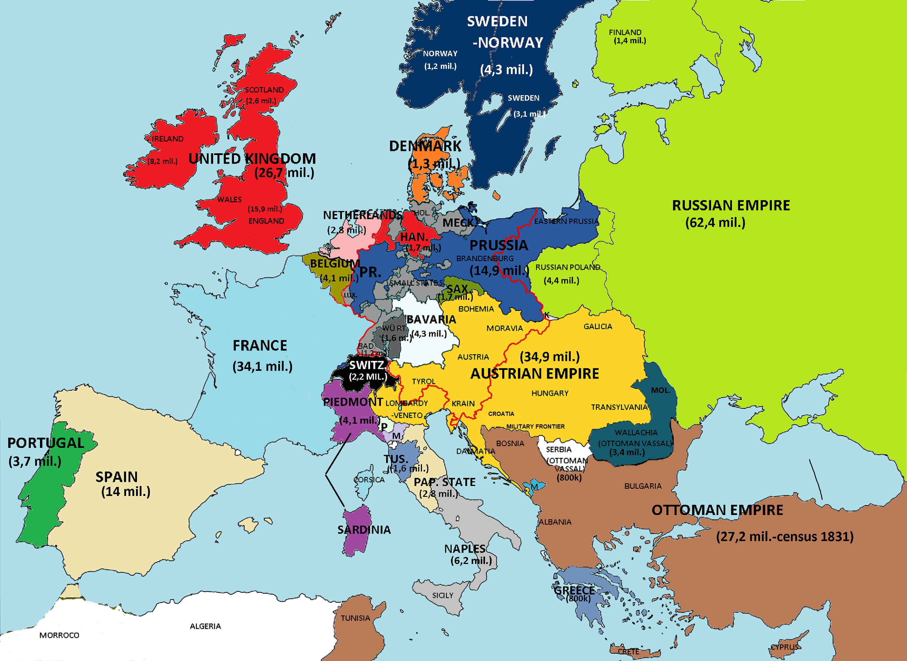 Europe in 1840 with population Maps InterestingMaps