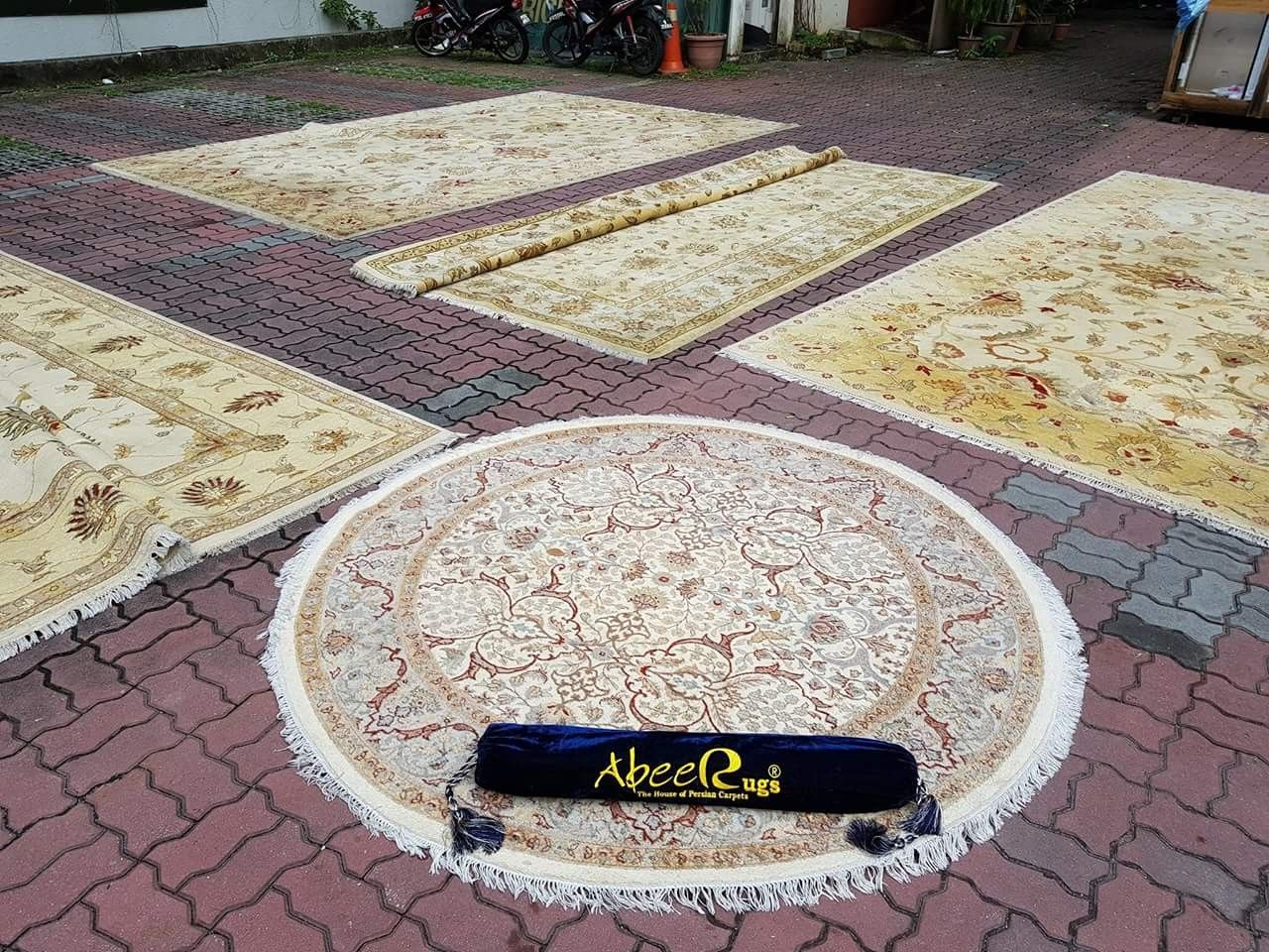 After wash Carpets drying under natural sunlight. Abee