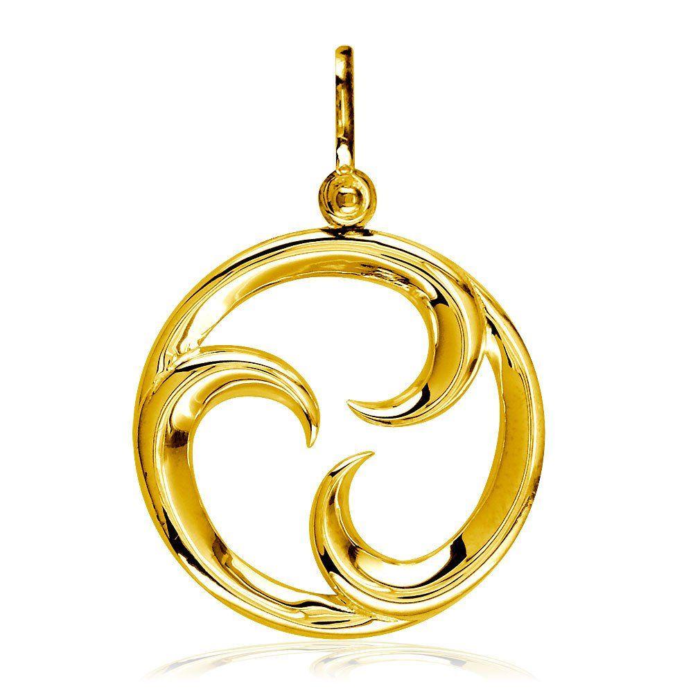 Large Circle Maori Tri Koru New Beginnings Charm with Three Curls in