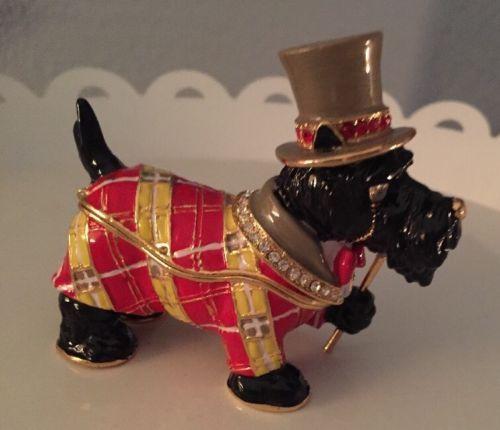 Black-Scottie-Scottish-Terrier-Dog-Hinged-Trinket-Box-Metal-Enamel-3-5-L