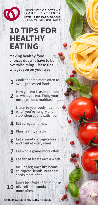 10 tips for healthy eating article from the university of ottawa 10 tips for healthy eating article from the university of ottawa heart institute ccuart Image collections
