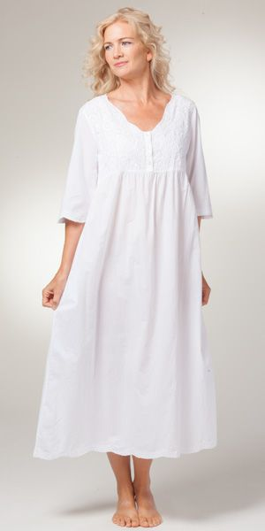 b6a1782ea8b La Cera Boutique Embroidered Long Cotton Nightgowns in White Sunflower