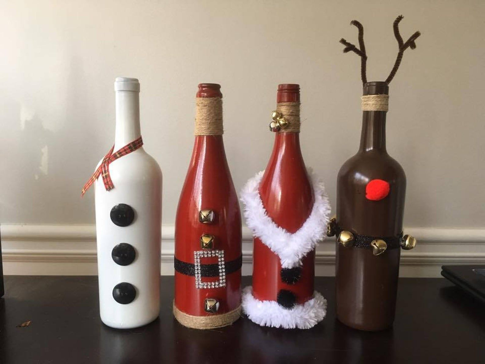 Christmas Decorated Wine Bottles In 2020 Wine Bottle Christmas Decorations Wine Bottle Crafts Christmas Diy Bottle Crafts
