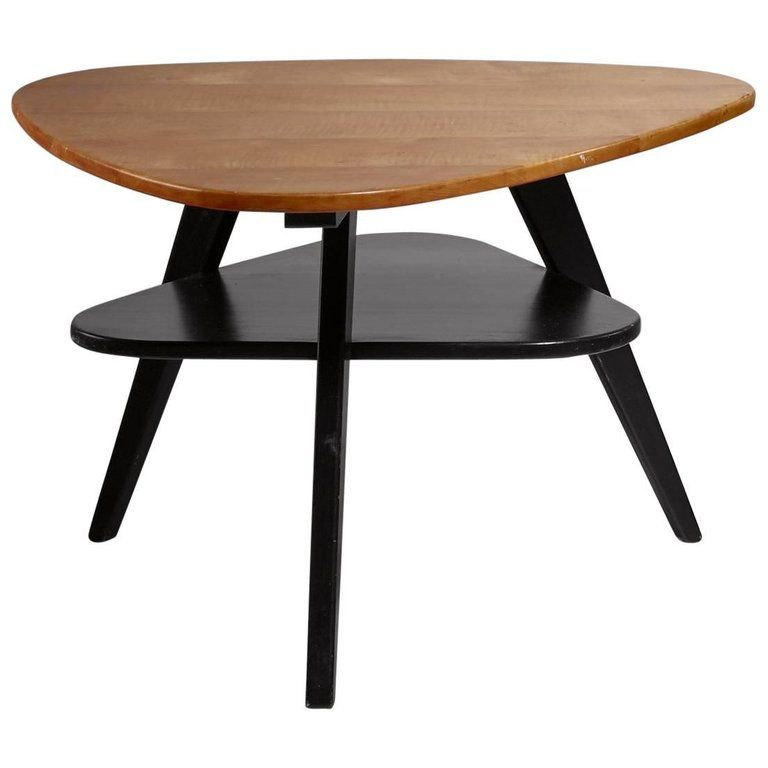 Two Tier Triangle Shaped Coffee Table Netherlands 1950s Coffee