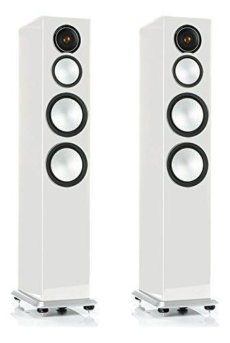 Amazon Com Monitor Audio Silver 8 Floorstanding Speaker Each High Gloss White Audio Speaker High Gloss White