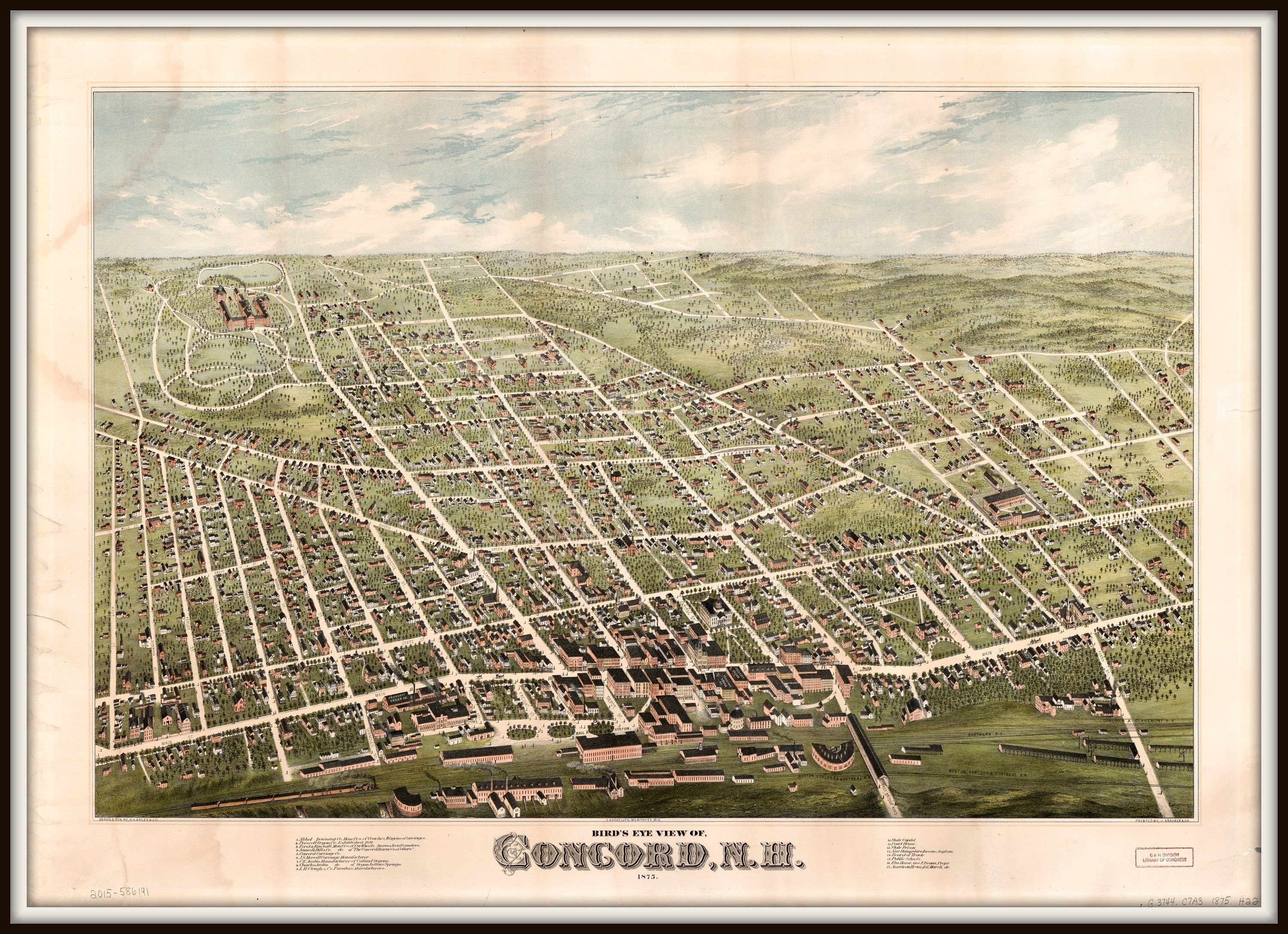 Concord Nh Panoramic Map Vintage Map Vintage Map Art Etsy Panoramic Map Birds Eye View Map Vintage Maps Art