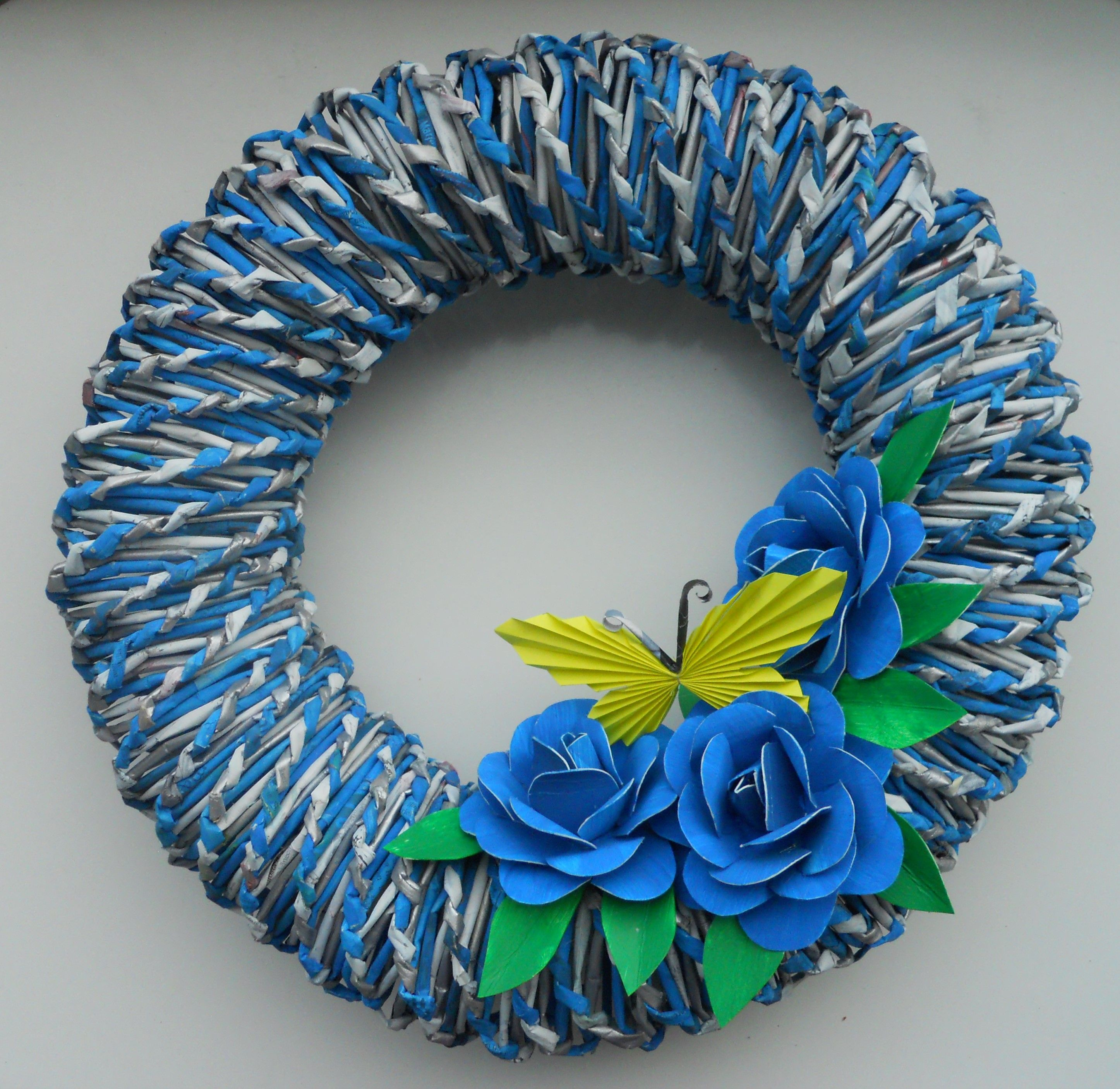 This wreath is made from newspaper roses are made from toilet paper this wreath is made from newspaper roses are made from toilet paper rolls http mightylinksfo Choice Image