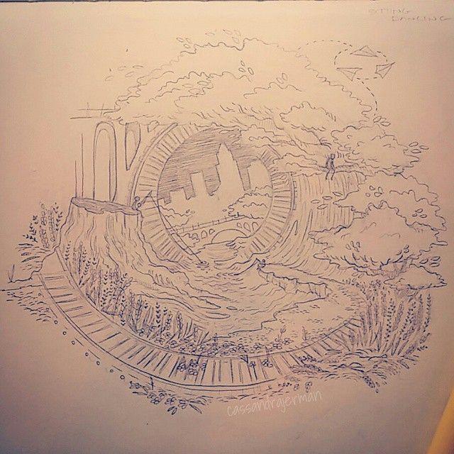 Cleveland Metroparks Bridge Train Tracks Moleskine Sketchbook Illustration Drawing- Cassandra Jerman