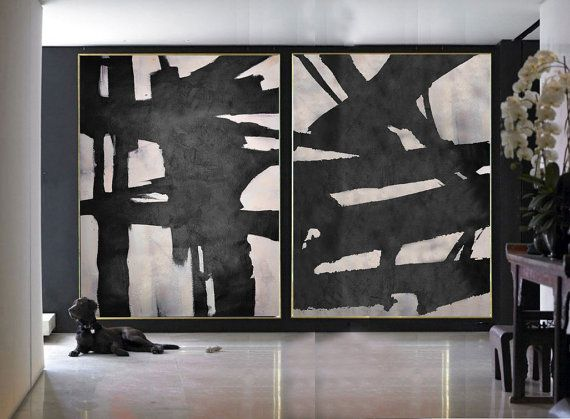 Set Of 2 minimalist art on canvas, hand painted black and white and pink painting from CZ ART DESIGN, for minimalist home and modern interiors. @CeilneZiangArt