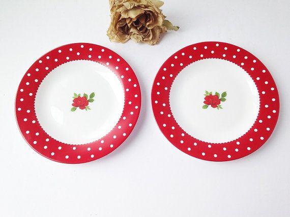 Luminarc Glass Red Polka Dot Side Plates ~ $26US (reg. price) + shipping - Check for Sales! ~ #retroplates #vintageredplate #redpolkadots #redandwhitepolkadots  #aandsvintage #decor #homedecor #vintage #vintagedecor #etsy #etsyshop #etsystore #etsyseller #etsyfinds  #etsyvintage #forsale