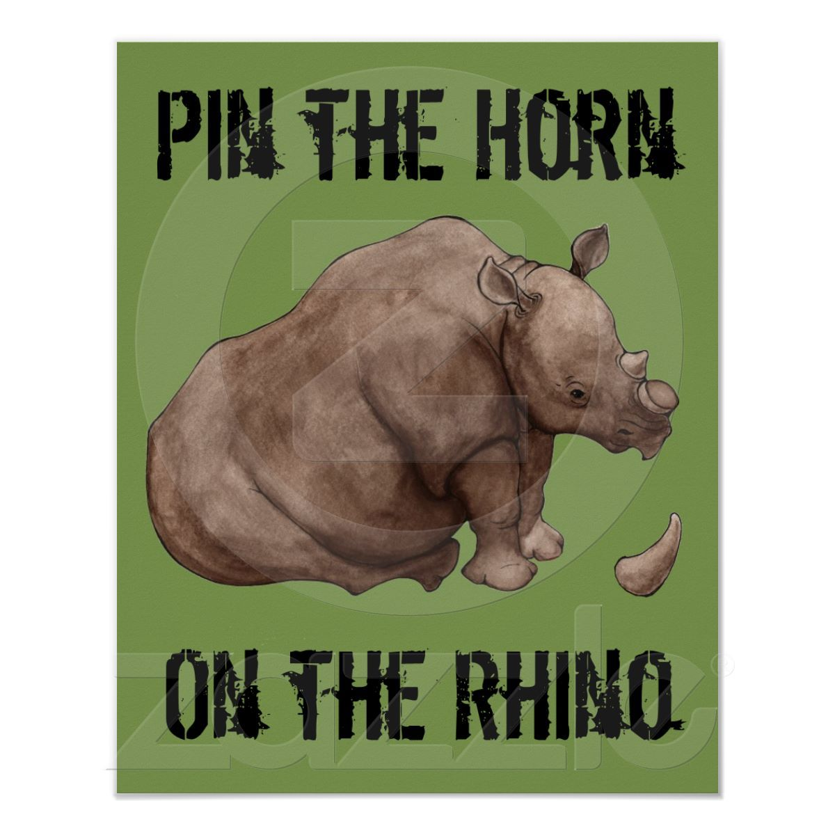 Pin the Horn on the Rhino Poster Animal party, Kids