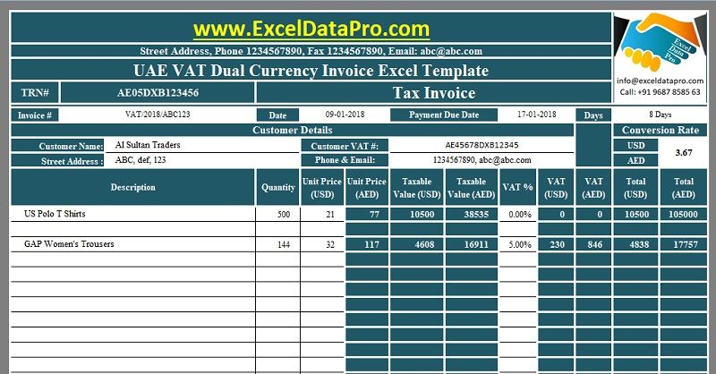 Download UAE VAT Dual Currency Invoice Excel Template GCC VAT