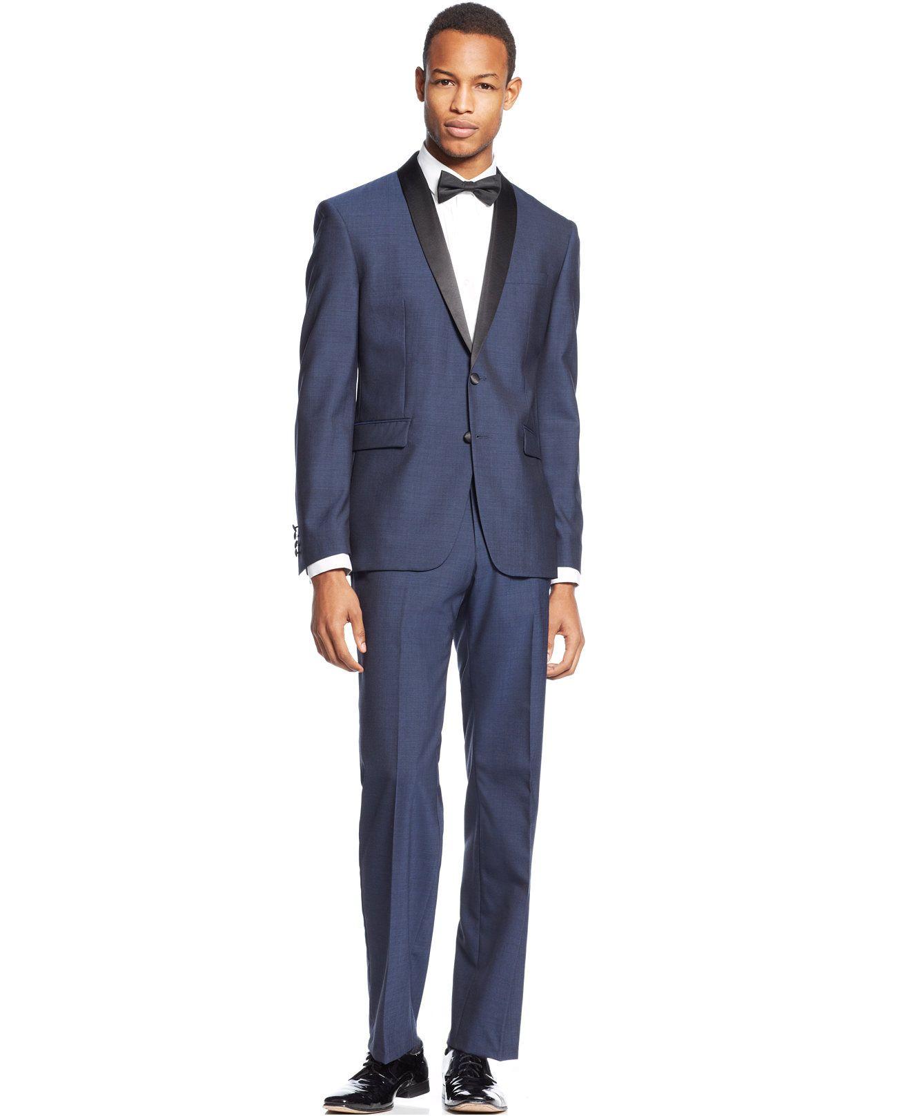 Bar III Slim-Fit Midnight Blue Shawl Collar Tuxedo Separates ...