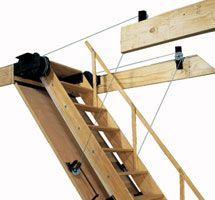 Captivating Folding Attic Stairs   Hand Rail And Pulley System