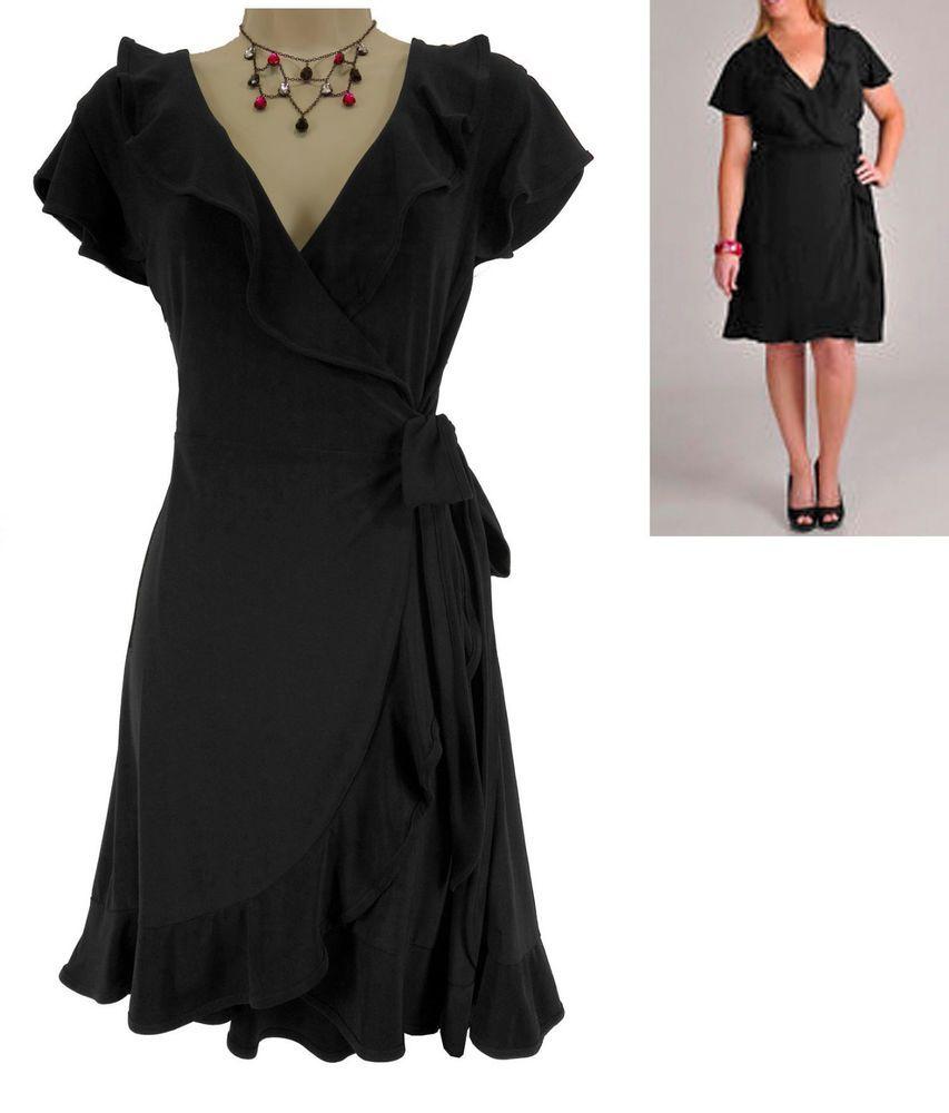 large xl sexy womens black ruffle fauxwrap dress dayevening all