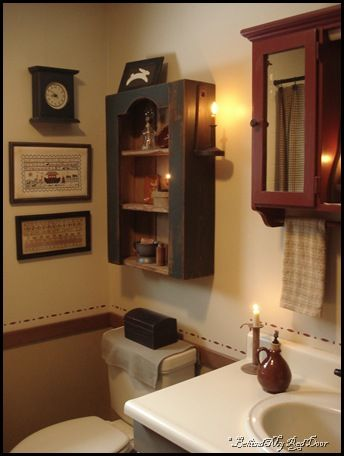 Love the little touches of candlelight primitive - Primitive paint colors for bathrooms ...
