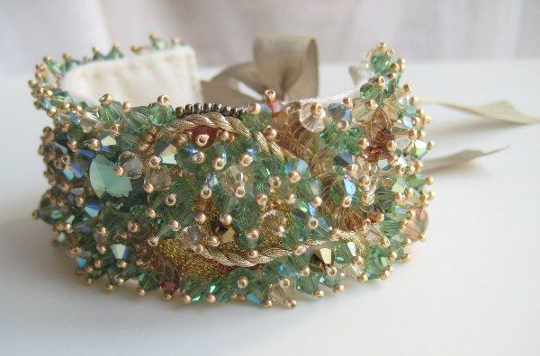 "Inspiration!   Made to Order - Couture Embroidered Swarovski Cuff Bracelet 1"" Wide-swarovski, cuff, bracelet, beadwork, embroidery, bridal, wedding, bridesmaid"