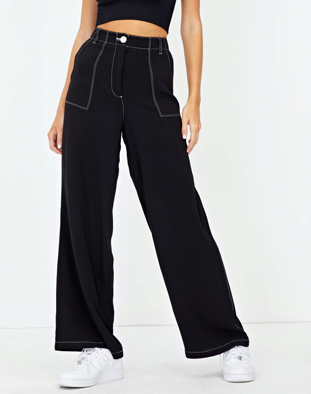 Lightweight Contrast Stitch Pant In Black Glassons Casual Dresses For Women Outfit Inspirations 2020 Casual Dress Pants [ 1269 x 1000 Pixel ]