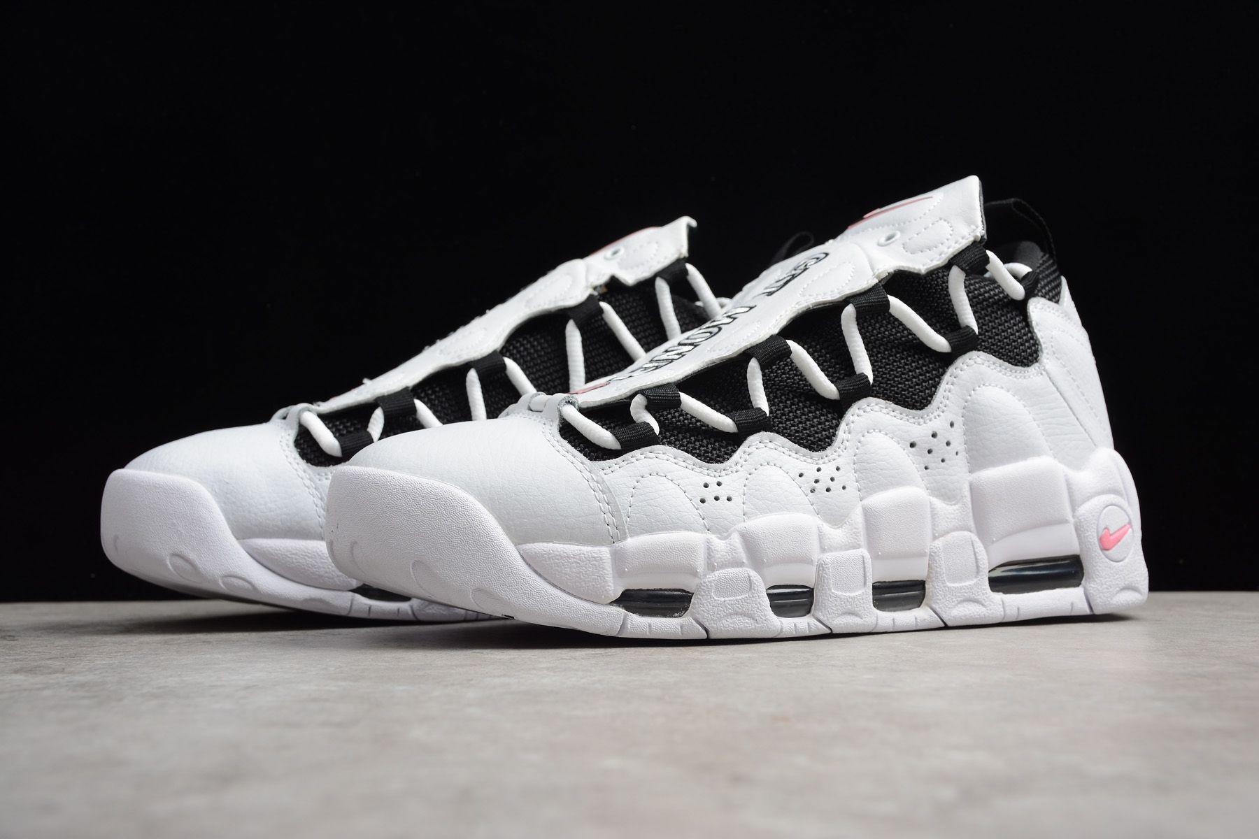 2018 Nike Air More Money White Black-Coral Chalk Men s Size AJ2998 ... 251652f40