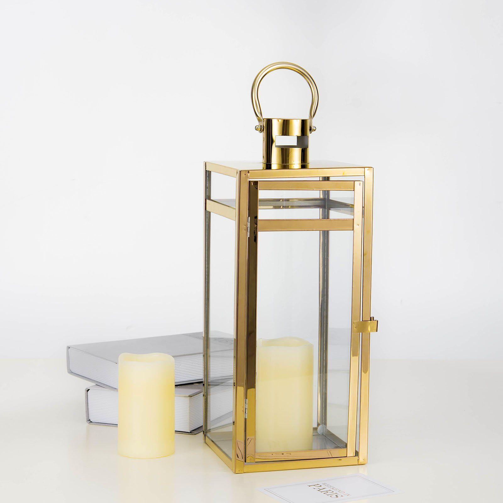 17 Gold Stainless Steel Metal Lantern Centerpieces Outdoor Candle Lanterns In 2020 Metal Lanterns Candle Lanterns Candle Holders