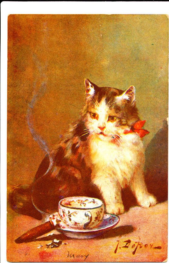 Leroy Signed Cat and Teacup 1910