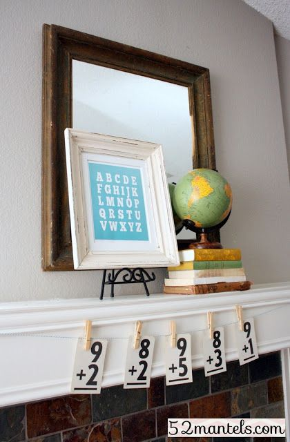 back to school mantel and free printable