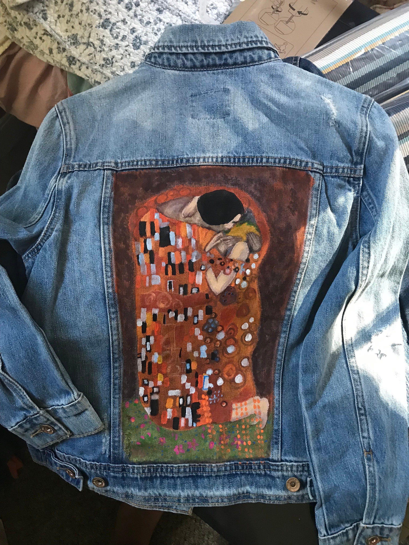 Denim jacket handpainted inspired by klimts the kiss