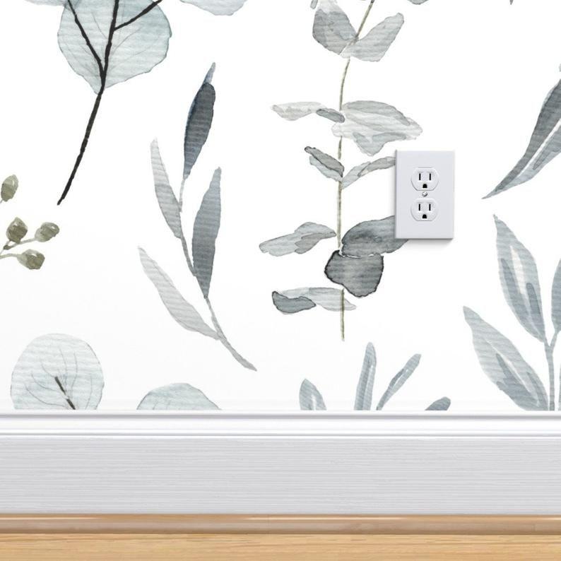 Blue Gray Eucalyptus Botanical Wallpaper Peel Stick Etsy Botanical Wallpaper Removable Wallpaper Blue Grey Wallpaper