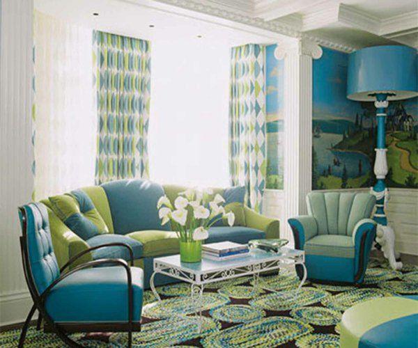 Desain Ruang Tamu Modern Warna Biru