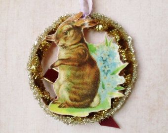 Tinsel and Paper Bunny Ornament