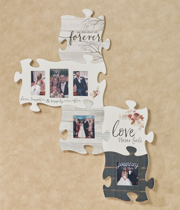 Cherish The Moments Of Your Special Day With The Happily Ever After Puzzle Piece Wall Art The Pa Framed Photo Collage Puzzle Piece Picture Frames Puzzle Frame