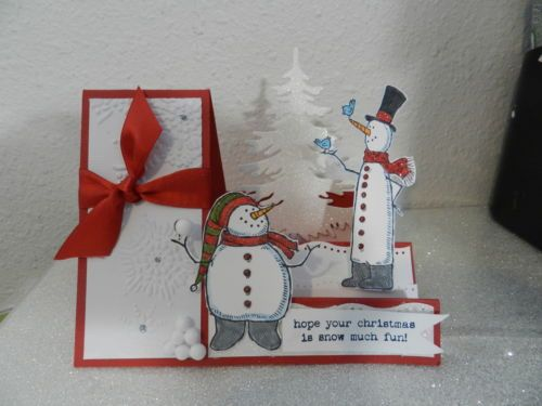 Stampin Up Christmas card kit side step card snowman