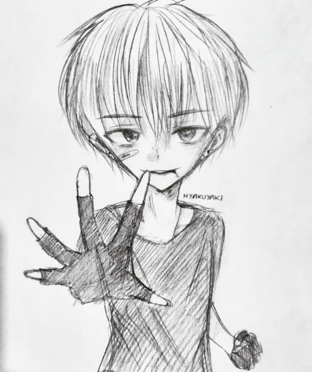 """heh.... pathetic."" . . anime fanart pencil sketch"